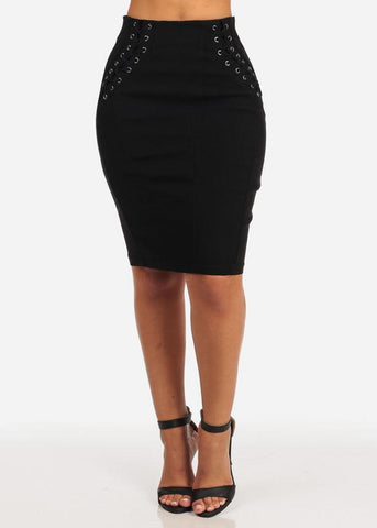 Lace-Up Stretchy Skirt