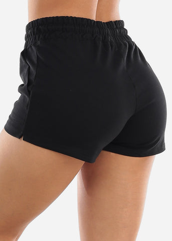 Black Drawstring Waist Shorts