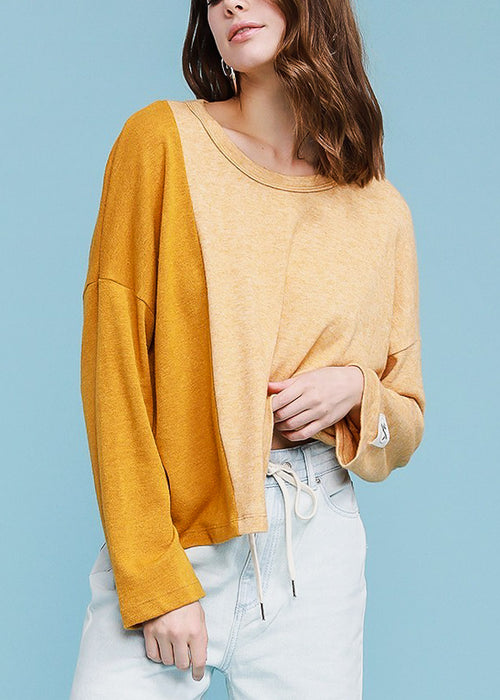 Long Sleeve Mustard Pullover Top