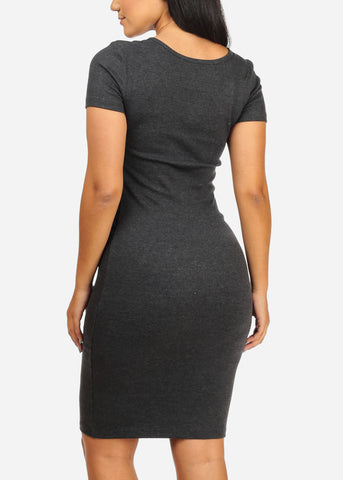 Basic Charcoal Bodycon Dress