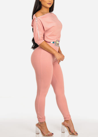 Image of Women's Junior Ladies Sexy Night Out Casual Day Party Clubwear Blush Pink Jumpsuit With Zipper Shoulder And Belt Included
