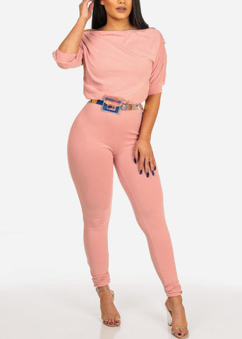 Women's Junior Ladies Sexy Night Out Casual Day Party Clubwear Blush Pink Jumpsuit With Zipper Shoulder And Belt Included