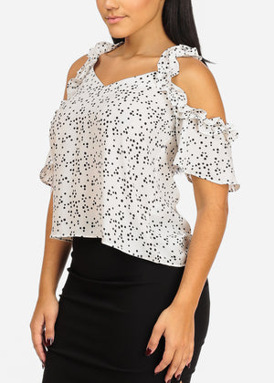 Lightweight Cold Shoulder V Neckline Ruffle Detail White Polka Dot Top