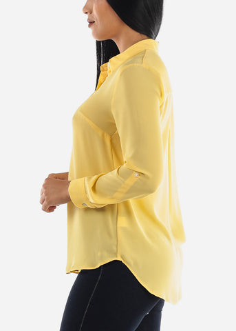 Image of Yellow Button Up Top