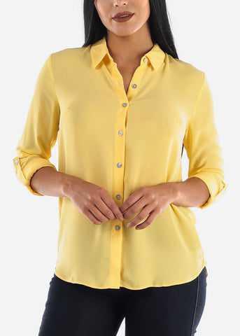 Yellow Button Up Top