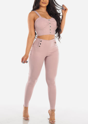 Women's Junior Ladies Sexy Clubwear Night Out Going Out Party Sexy High Waist Super Stretchy Silver Button Mauve Skinny Pants