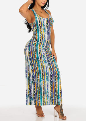 Casual Multi Color Tribal Maxi Dress