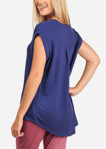 Women's Junior Ladies Casual Cap Sleeve Stretchy Soft Comfy Navy Tunic Top