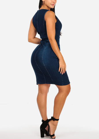 Image of Dark Wash Front Zipper Denim Dress