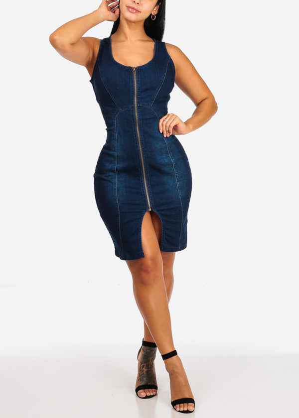Dark Wash Front Zipper Denim Dress