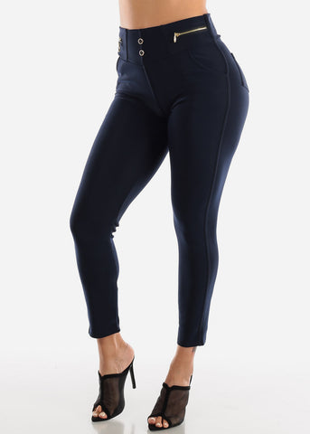 Image of Pull On Navy Skinny Pants