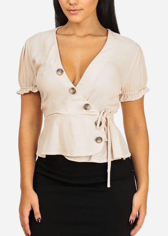 Casual Wrap Front Beige Top