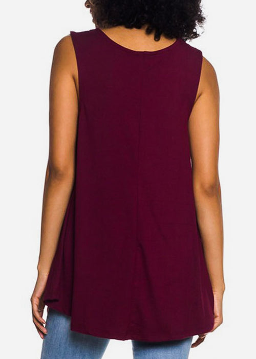 Sleeveless Burgundy Tunic Top