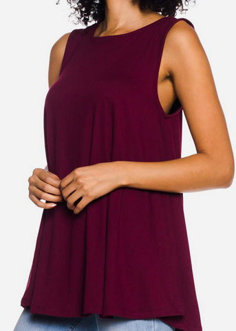 Image of Sleeveless Burgundy Tunic Top
