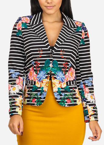Stylish Stripe And Floral Print Blazer