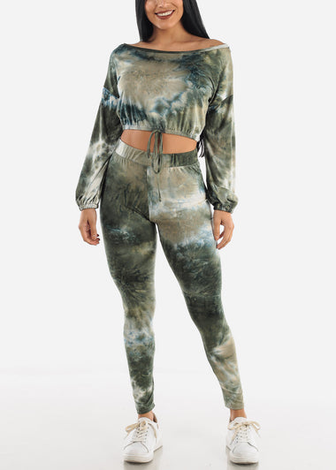 Green Tie Dye Top & Leggings (2 PCE SET)
