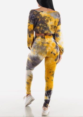 Mustard Tie Dye Top & Leggings ( 2 PCE SET)