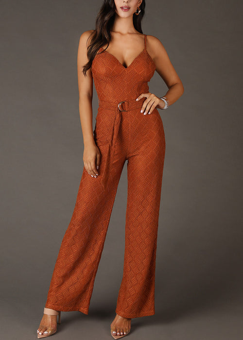 Laced Textured Brown Jumpsuit