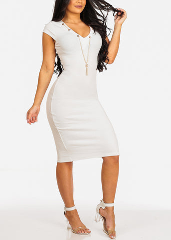Image of Sexy Clubwear Short Sleeve V Neckline White Bodycon Midi Dress