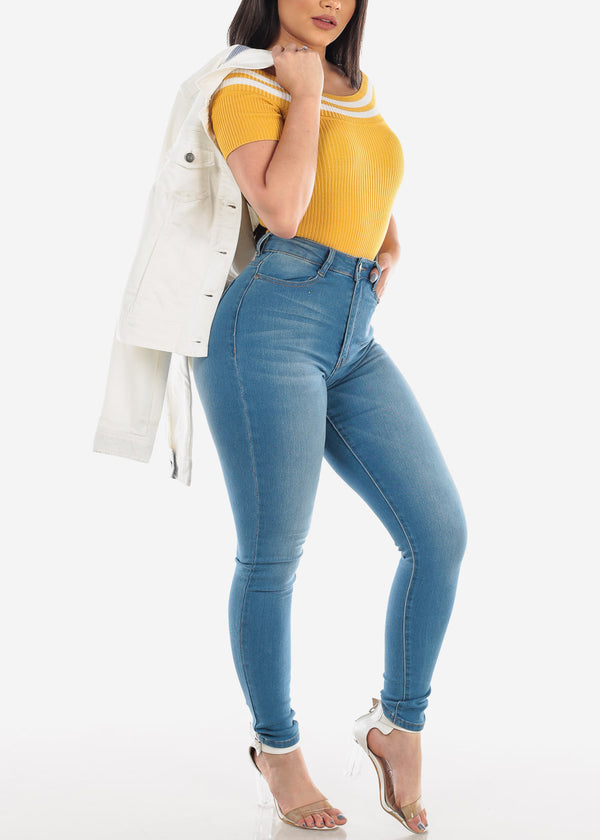 Off Shoulder Ribbed Mustard Crop Top
