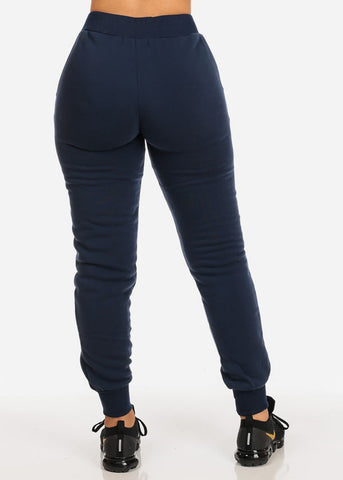 Image of High Rise Navy Jogger Pants