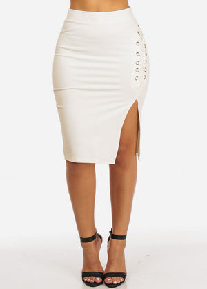 Sexy Side Lace Up White Skirt