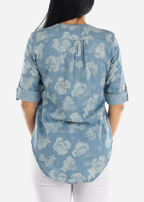 Floral Light Wash Denim Top