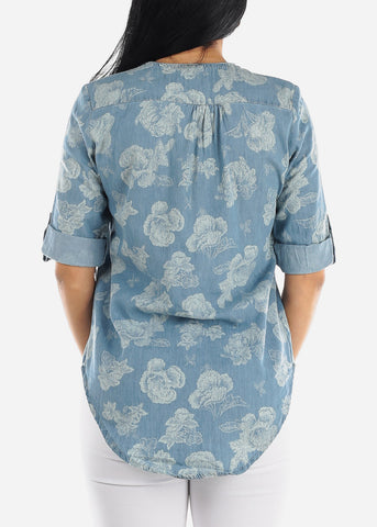 Image of Floral Light Wash Denim Top