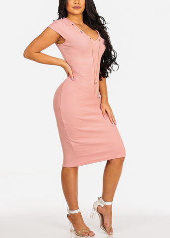 Image of Sexy Clubwear Short Sleeve V Neckline Pink Bodycon Midi Dress