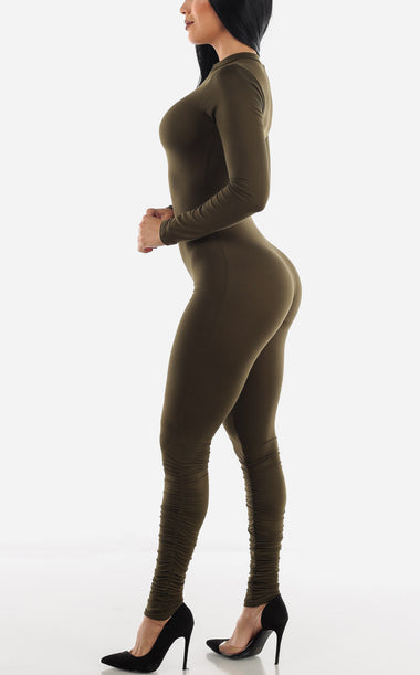 Long Sleeve Olive Jumpsuit