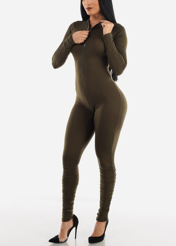 Image of Long Sleeve Olive Jumpsuit