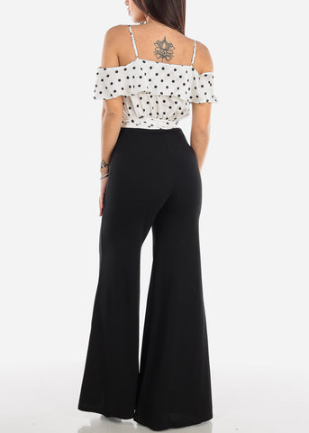 Image of Cold Shoulder Polka Dot Jumpsuit