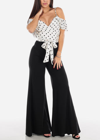 Cold Shoulder Polka Dot Jumpsuit