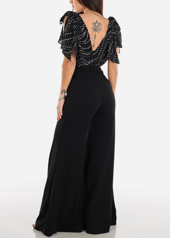 Shoulder Tie Black V-Neck Jumpsuit