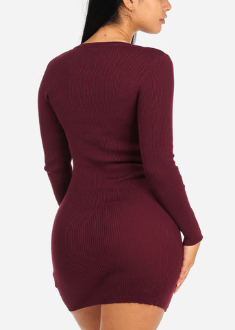 Image of Burgundy Lace Up Knitted Dress