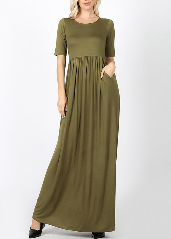 Olive Maxi Dress With Waist Shirring