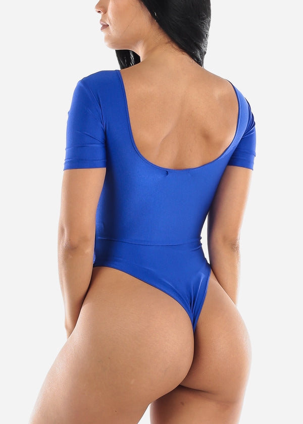Sexy Satin Royal Blue Bodysuit
