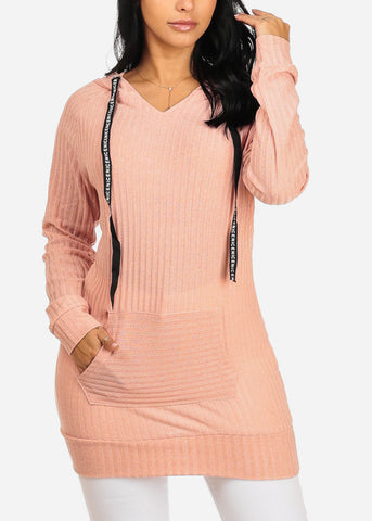 Cozy Long Sleeve Kangaroo Pocket Stretchy Knitted Pink Tunic Top W Hood