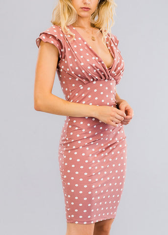 Mauve Polka Dot Ruffle Dress
