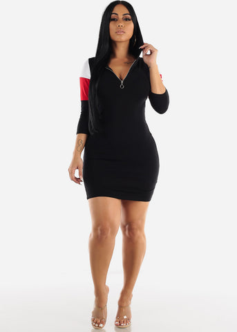 Image of Black Bodycon Hoodie Dress