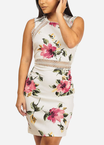 Image of Floral Print White Dress