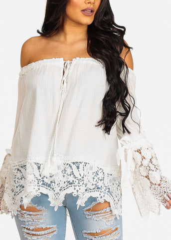 Cute Trendy White Off Shoulder Crochet Detail Top