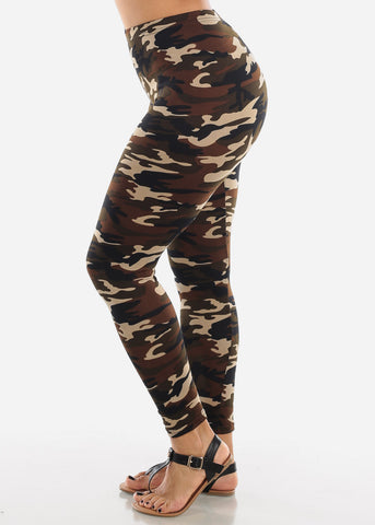 Image of Cream Camouflage Print Leggings L139CRMCAMO