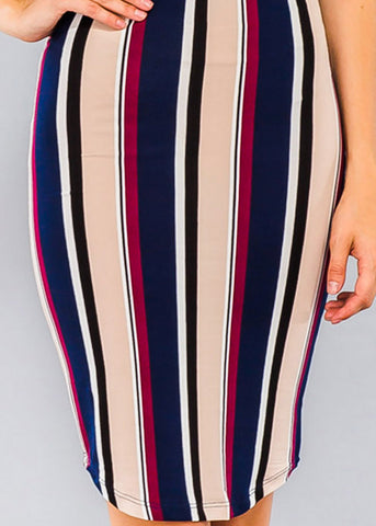 Stripe Navy Bodycon Midi Dress
