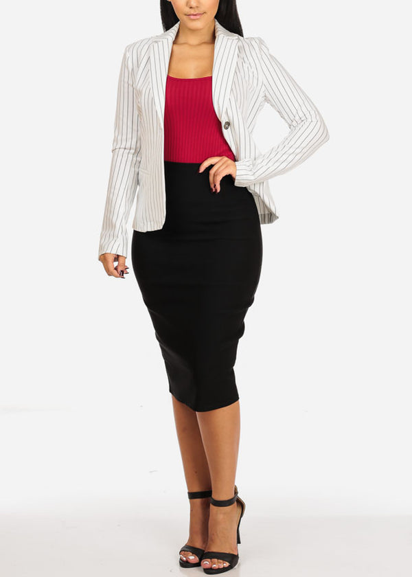 High Rise Black Pencil Midi Skirt