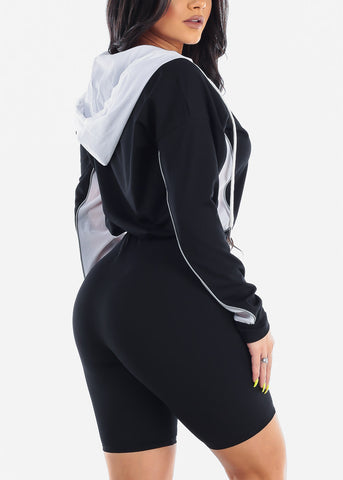 Women's Junior Ladies Sexy Trendy Must Have Sporty Long Sleeve Sport Jersey Black And White Romper With Hood