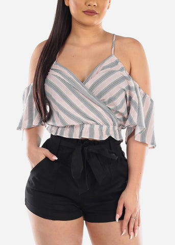 Image of Lightweight Cold Shoulder Tie Neck Mauve Stripe Crop Top For Women Ladies Junior Summer Vacation Trip