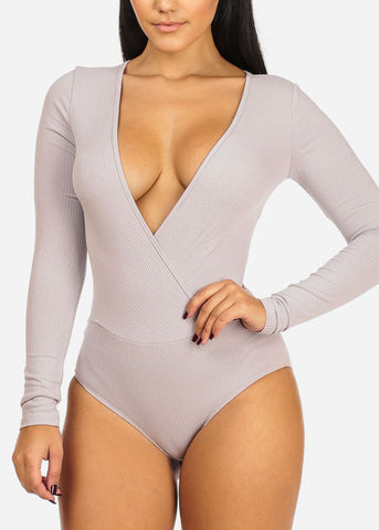 Sexy Ribbed Light Lavender Bodysuit