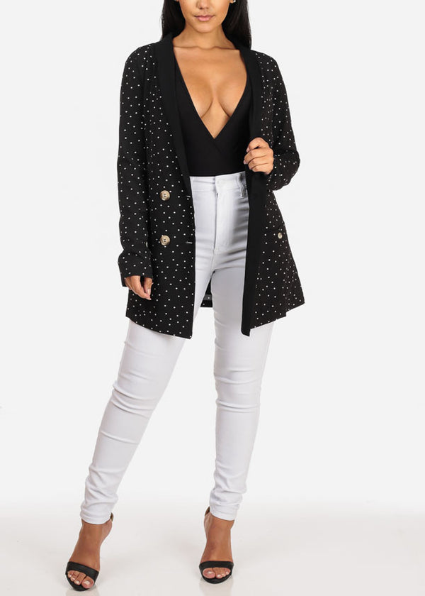 L'ATISTE Long Sleeve 2 Button Black Polka Dot Oversized Blazer