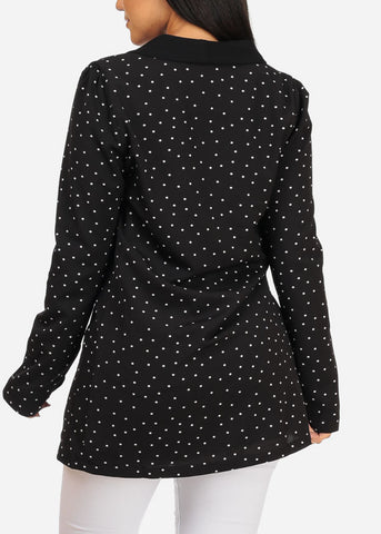 Image of L'ATISTE Long Sleeve 2 Button Black Polka Dot Oversized Blazer